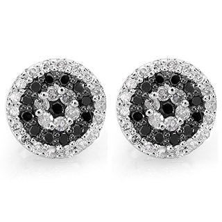 14k White Gold 1/2ct TDW Diamond Accent Black and White Stud Earrings