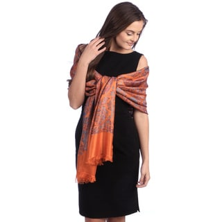 Selection Privee Paris Women's Asia Orange Turquoise Paisley Silk Shawl Wrap