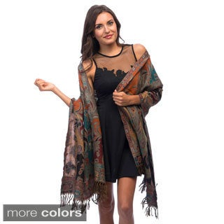 Selection Privee Paris Lisa Black Floral Tapestry Wool Fringed Shawl Wrap