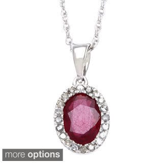 Viducci 10k White Gold 1/6ct TDW Diamond Sapphire, Emerald, Ruby Necklace (G-H, I1-I2)