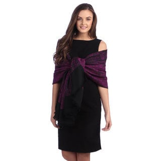 Selection Privee Paris Women's Lola Purple Black Paisley Wool Wrap