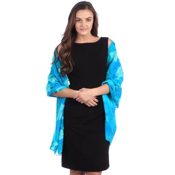 Selection Privee Paris Women's Amelie Turquoise Blue Patchwork Dressy Silk Shawl Wrap