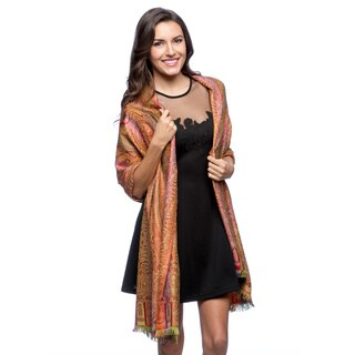 Selection Privee Paris Women's Red Green Wool and Silk Paisley Reversible Wrap