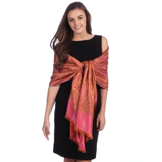 Selection Privee Paris Women's Asia Orange Fuchsia Paisley Silk Shawl Wrap
