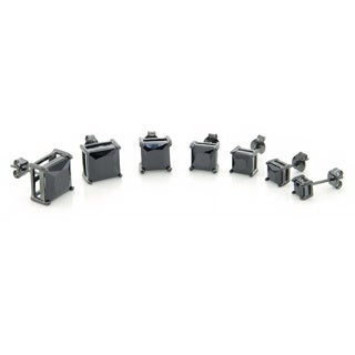 Black Rhodium over Sterling Silver Princess Cut Black CZ Stud Earrings