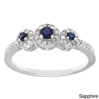 Viducci Sterling Silver 1/3ct TDW Diamond Multigemstone Ring (G-H, I1-I2)
