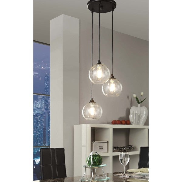Uptown 3 light clear globe cluster pendant overstock for Dining room 3 pendant lights