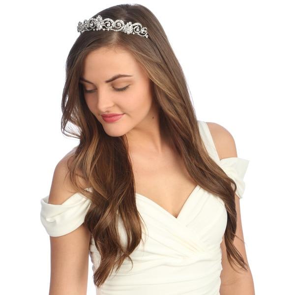 Amour Bridal Silver Rhinestone Tiara Headpiece