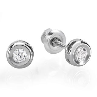 14k White Gold 1/6ct TDW Round Brilliant Diamond Bezel Stud Earrings (I-J, I2-I3)