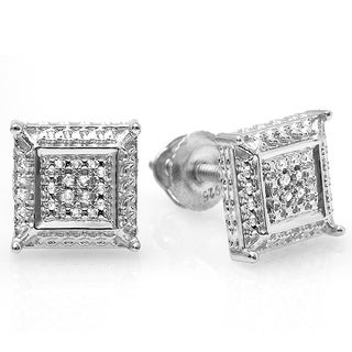 Sterling Silver White Round Diamond Stud Earrings (I-J, I2-I3)