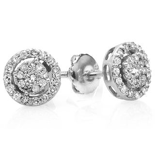 14k White Gold 1/2ct TDW Round Diamond Earrings (H-I, I1-I2)