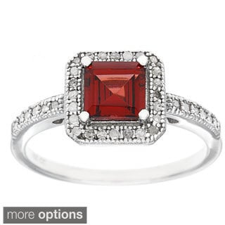 Viducci Sterling Silver 1/5ct TDW Diamond and Gemstone Ring (G-H, I1-I2)