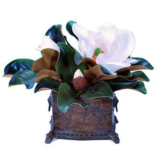 Magnolias/ Classic Brown Planter (16-inches)