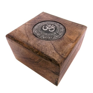 Mango Wood 'OM' Keepsake Box (India)