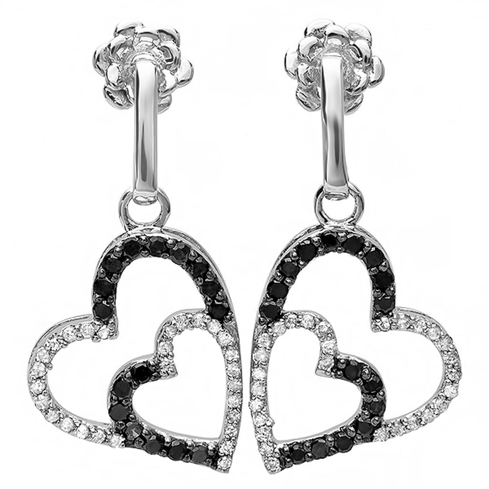 10k White Gold 3/5ct TDW Black and White Diamond Heart Drop Earrings (H-I, I1-I2) at Sears.com