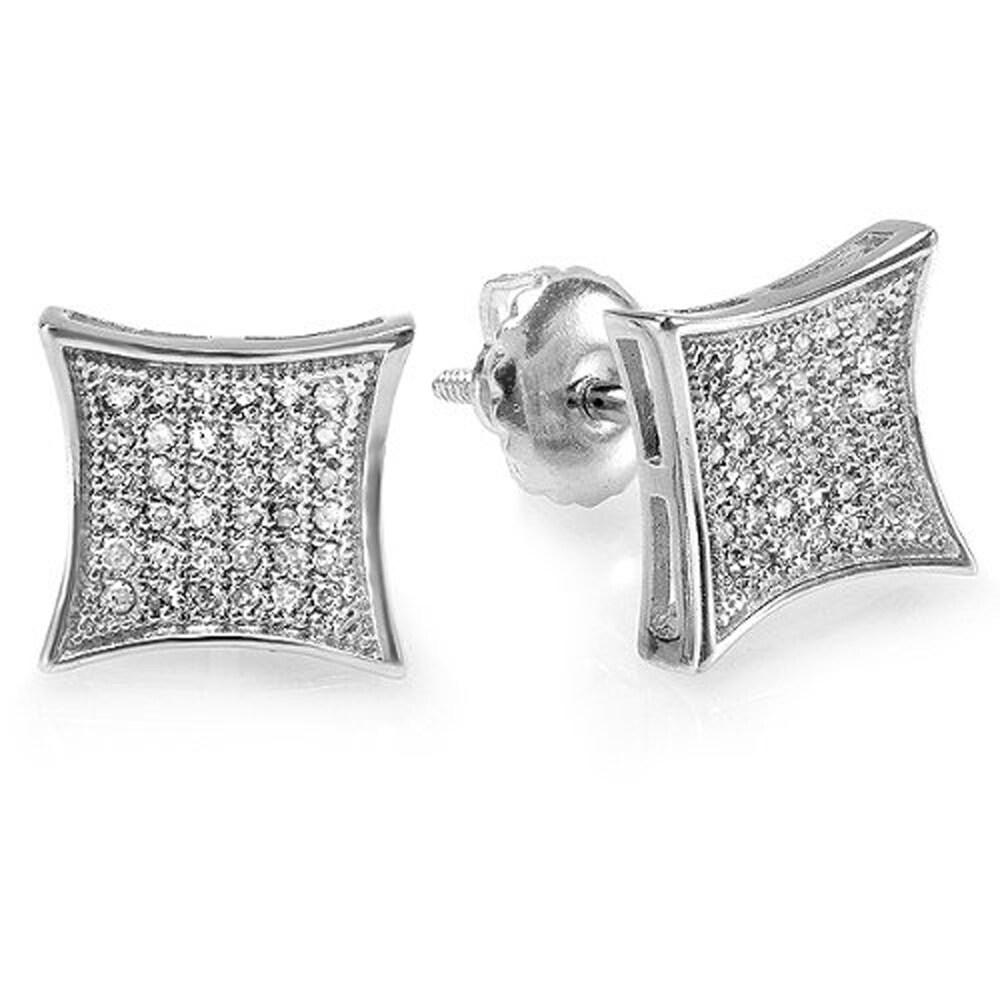 Hip Hop Earrings: Sterling Silver 1/6ct TDW White Diamond Men's Hip Hop Stud