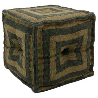 Wool and Jute Pouf Ottoman (India)