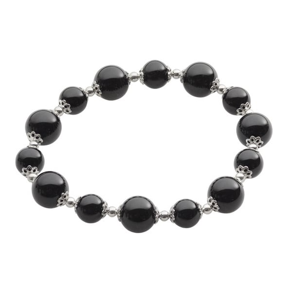 Gems For You Sterling Silver Black Onyx and Silver Bead Stretch Bracelet 12158063
