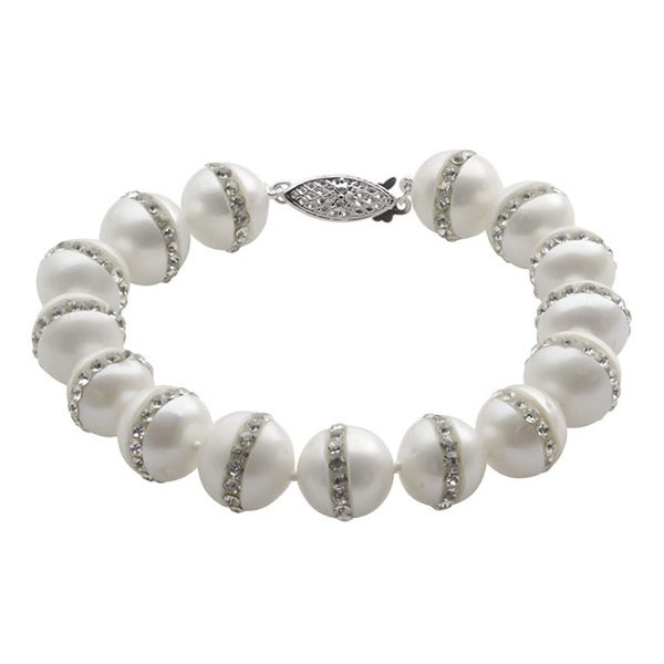 Pearls For You Sterling Silver White Crystal-studded Freshwater Pearl Strand Bracelet (10-11 mm)