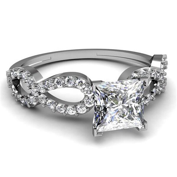 14k White Gold 5/8ct TDW Princess-cut Diamond Engagement Ring (G-H, VS2)