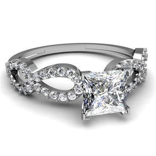 14k White Gold 5/8ct TDW Princess-cut Diamond Engagement Ring (G-H, VS2)