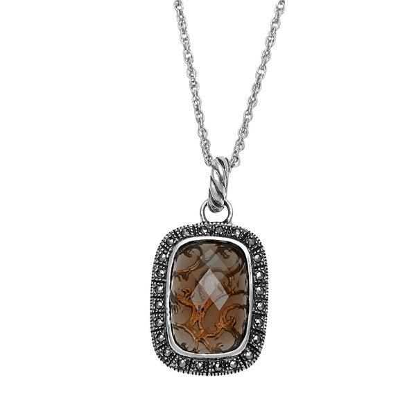 MARC Sterling Silver Rectangular Smokey Quartz Marcasite Pendant Necklace