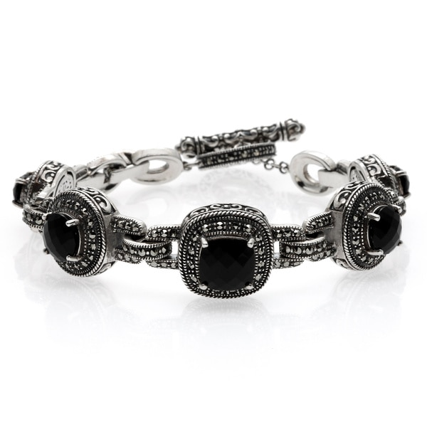 MARC Sterling Silver Black Onyx and Marcasite Toggle Bracelet