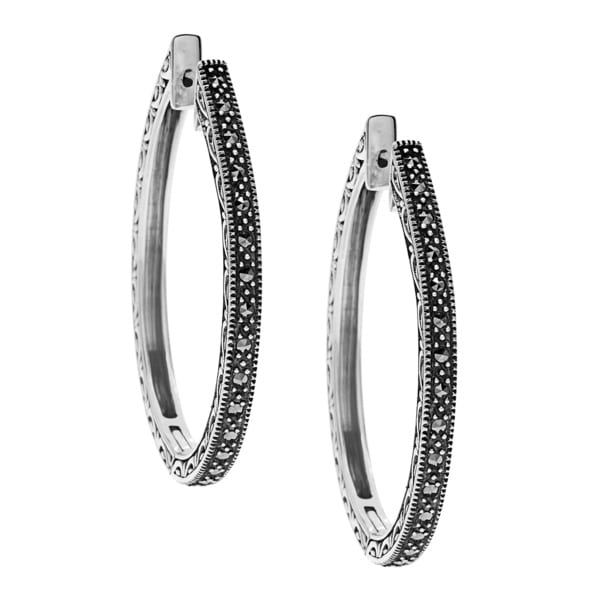 MARC Sterling Silver Oval Hoop Marcasite Earrings