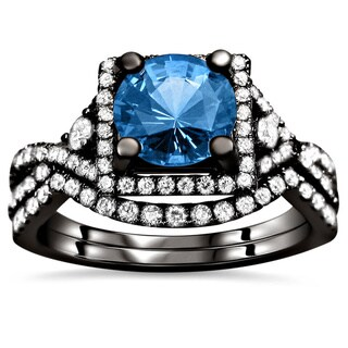 Noori 18k Black Gold 2 1/2ct TDW Certified Blue Sapphire and Diamond Bridal Set (F-G, VS1-VS2)