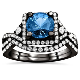 18k Black Gold 2 1/2ct TDW Blue Sapphire and Diamond Bridal Set (F-G, VS1-VS2)