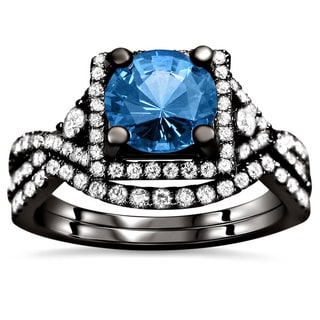 18k Black Gold 2 1/2ct TDW Certified Blue Sapphire and Diamond Bridal Set (F-G, VS1-VS2)