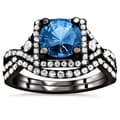 18k Black Gold 2 1/2ct TDW Blue Sapphire and Diamond Bridal Set