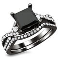 18k Black Gold 2 1/3ct Certified Black Princess-cut Diamond Bridal Set (E-F, VS1-VS2)