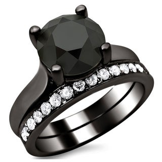 14k Black Gold 3ct Certified Black and White Round Diamond Bridal Set (F-G, VS1-VS2)
