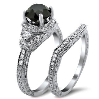 Noori 14k White Gold 2ct TDW Certified Black and White Round Diamond Bridal Set (G-H, SI1-SI2)