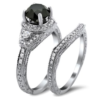 14k White Gold 2ct TDW Certified Black and White Round Diamond Bridal Set (G-H, SI1-SI2)