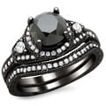 14k Black Gold 2ct TDW Certified Black and White Round Diamond Bridal Set (G-H, SI1-SI2)