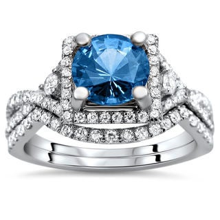 18k White Gold 2 4/5ct TDW Certified Blue Sapphire and Diamond Bridal Set (F-G, VS1-VS2)
