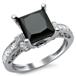 14k White Gold 1 4/5ct Certified Black Princess Cut Diamond Ring