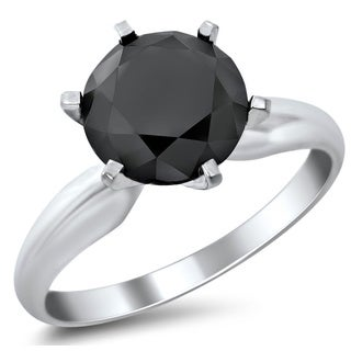 14k White Gold 2 1/3ct Certified Six Prong Black Round Diamond Solitaire Ring