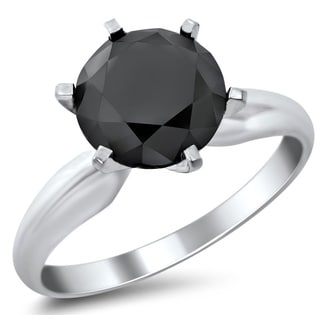 14k White Gold 2 1/3ct Six Prong Black Round Diamond Solitaire Ring