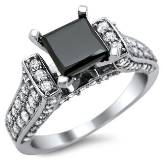 14k White Gold 2 1/2ct TDW Certified Black and White Princess Cut Diamond Ring (G-H, SI1-SI2)
