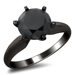 14k Black Gold 2.35ct TDW Black Round Diamond Engagement Ring
