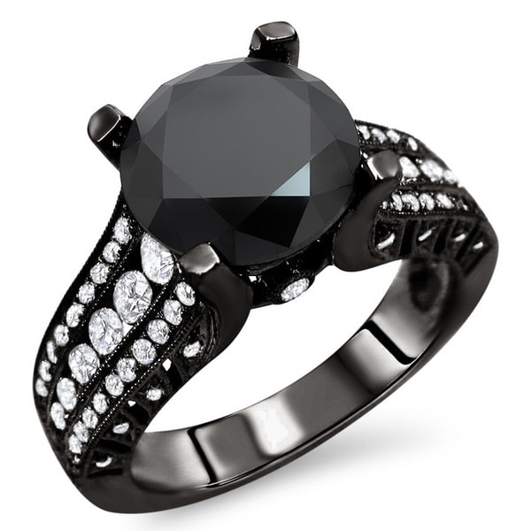 Noori 18k Black Gold 3 7/8ct TDW Certified Black and White Diamond Ring (E-F, VS1-VS2)