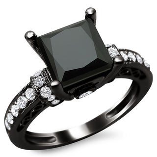 14k Black Gold 1 7/8ct TDW Certified Black Princess Cut Diamond Ring (G-H, SI1-SI2)
