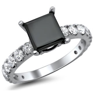 18k White Gold 2 5/8ct TDW Certified Black Princess Cut Diamond Engagement Ring (E-F, SI1-SI2)