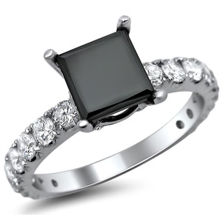 18k White Gold 2 5/8ct TDW Black Princess Cut Diamond Engagement Ring