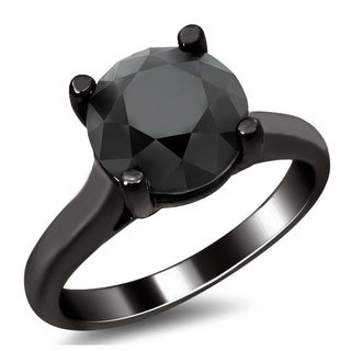 Noori 14k Black Gold 2 1/2ct Certified Black Round Diamond Solitaire Ring