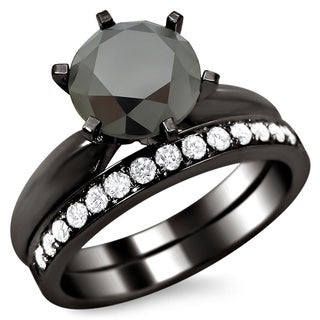 14k Black Gold 2 1/2ct Certified Six Prong Black Round Diamond Bridal Set (F-G, VS1-VS2)