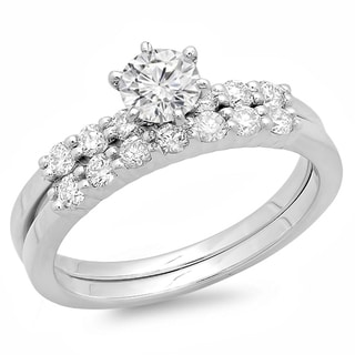 14k White Gold 1ct TDW Round Diamond Bridal Set (H-I, I1-I2)